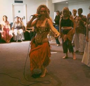 Titanya teaching the Five Elements and Belly dance at the Body, Mind, Spirit Expo, London, 1996.